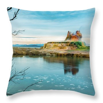 Pond And Geyser Throw Pillow
