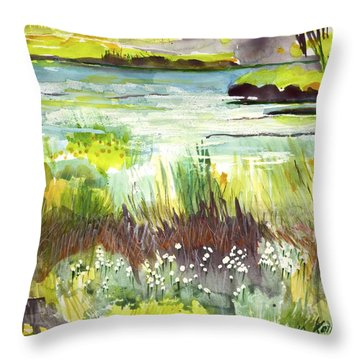 Pond And Plants Throw Pillow