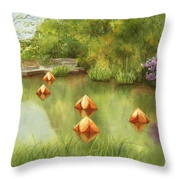 Pond At Olbrich Botanical Garden Throw Pillow