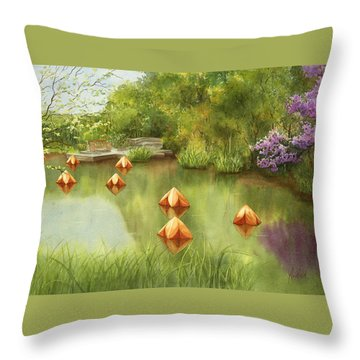 Pond At Olbrich Botanical Garden Throw Pillow