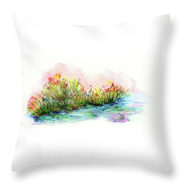 Throw Pillow featuring the painting Sunrise Pond by Lauren Heller