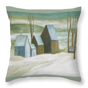 Throw Pillow featuring the painting Pond Farm In Winter by Glenn Quist