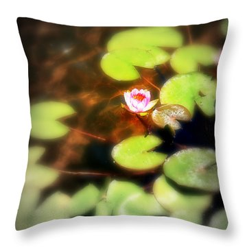 Pond Flower Throw Pillow by Perry Webster