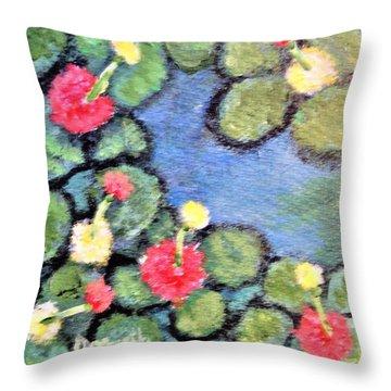 Pond Flowers Throw Pillow