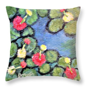 Pond Flowers Throw Pillow