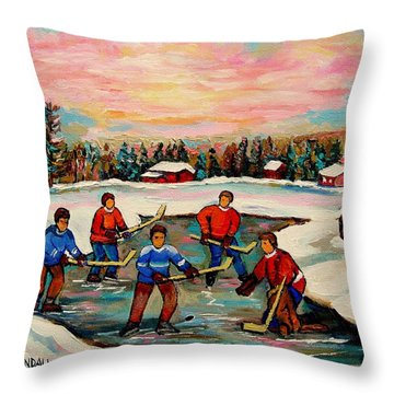Pond Hockey Countryscene Throw Pillow by Carole Spandau