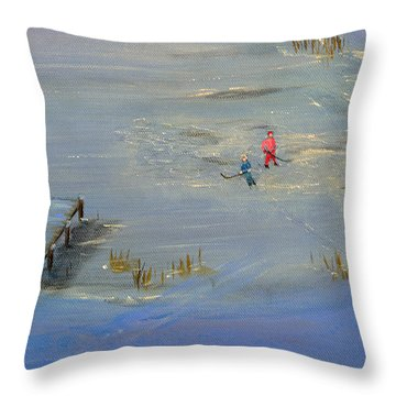Pond Hockey Throw Pillow