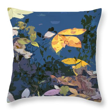 Autumn Leaves On The Pond Throw Pillow