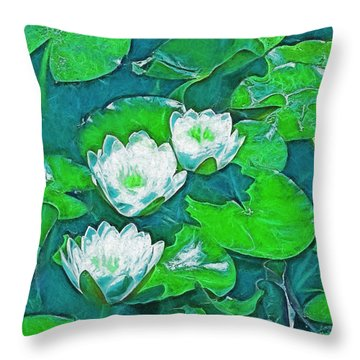 Pond Lily 2 Throw Pillow by Pamela Cooper