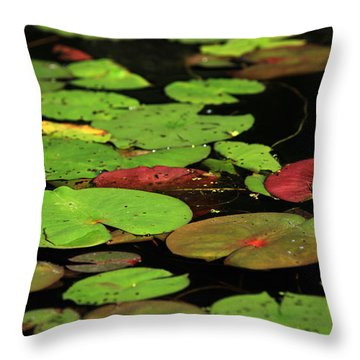 Pond Pads Throw Pillow by Karol Livote