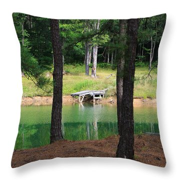 Pond Side Dock Throw Pillow