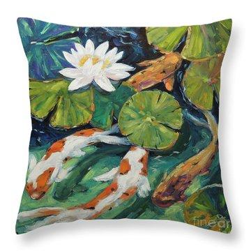Pond Swimmers Koi Throw Pillow