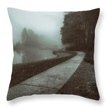 Pond Walk In Black And White Throw Pillow