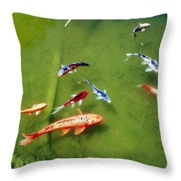 Throw Pillow featuring the photograph Pond With Koi Fish by Joseph Frank Baraba