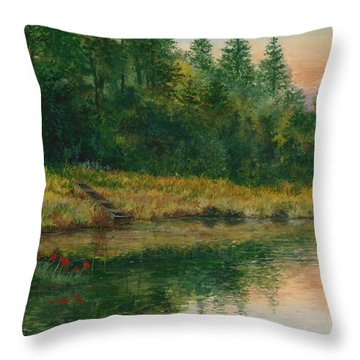 Pond With Spider Lilies Throw Pillow
