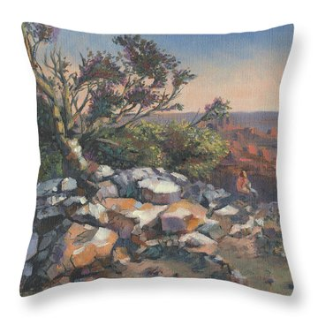 Pondering By The Canyon Throw Pillow