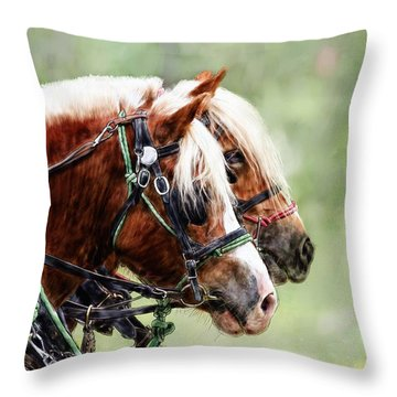 Ponies In Harness Throw Pillow