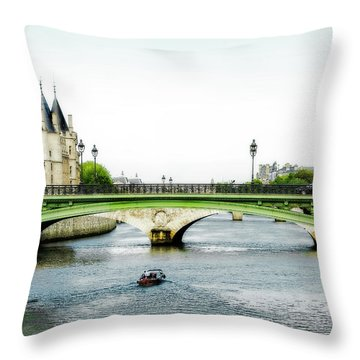 Pont Au Change Over The Seine River In Paris Throw Pillow