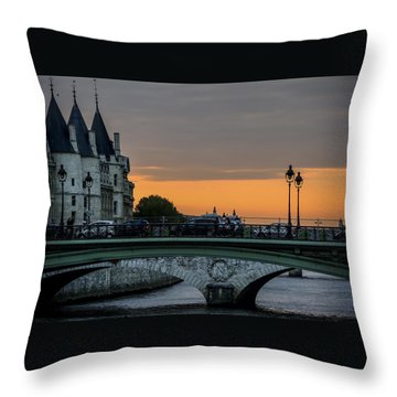 Pont Au Change Paris Sunset Throw Pillow