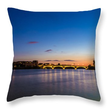 Throw Pillow featuring the photograph Pont Des Catalans And Garonne River At Night by Semmick Photo
