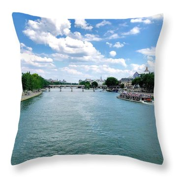 River Seine At Pont Du Carrousel Throw Pillow