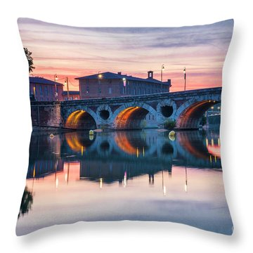 Throw Pillow featuring the photograph Pont Neuf In Toulouse At Sunset by Elena Elisseeva