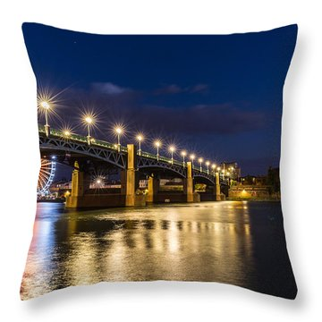 Throw Pillow featuring the photograph Pont Saint-pierre With Street Lanterns At Night by Semmick Photo