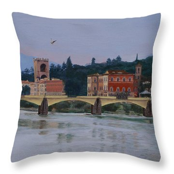 Pont Vecchio Landscape Throw Pillow