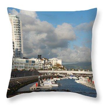 Ponta Delgada Waterfront Throw Pillow by Gaspar Avila