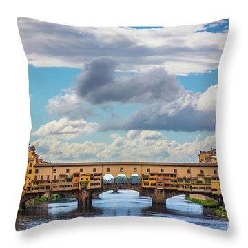 Ponte Vecchio Clouds Throw Pillow