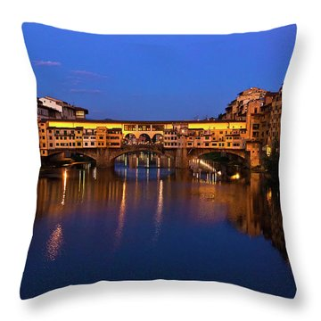 Ponte Vecchio Dusk  Throw Pillow by Harry Spitz