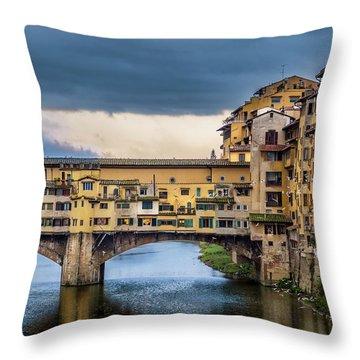 Ponte Vecchio E Gabbiani Throw Pillow by Sonny Marcyan