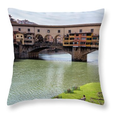 Throw Pillow featuring the photograph Ponte Vecchio Florence Italy II by Joan Carroll