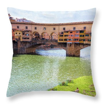 Throw Pillow featuring the photograph Ponte Vecchio Florence Italy II Painterly by Joan Carroll