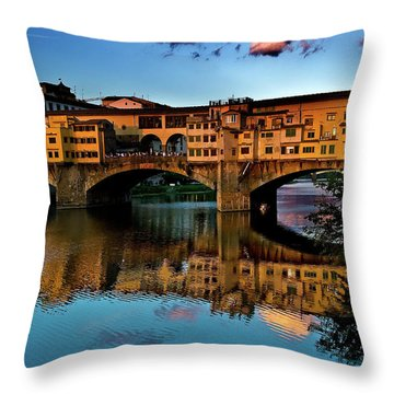 Throw Pillow featuring the photograph Ponte Vecchio From West  by Harry Spitz