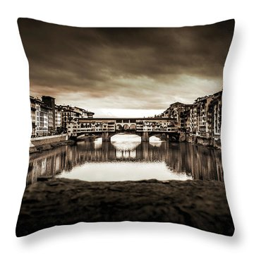 Ponte Vecchio In Sepia Throw Pillow by Sonny Marcyan