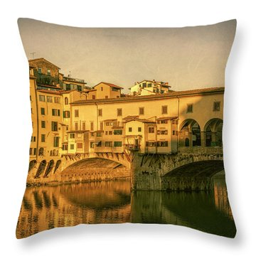 Throw Pillow featuring the photograph Ponte Vecchio Morning Florence Italy by Joan Carroll
