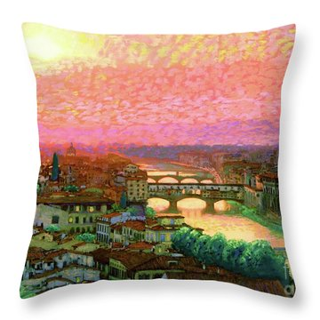 Ponte Vecchio Sunset Florence Throw Pillow