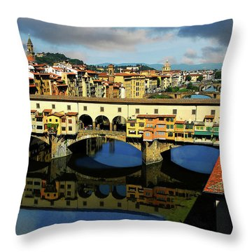 Ponte Vecchio View  Throw Pillow by Harry Spitz