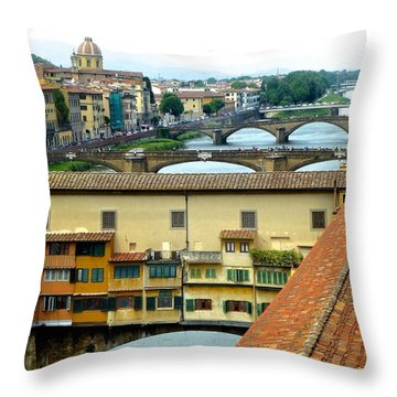 Ponte Veccio And Beyond Throw Pillow by Amelia Racca