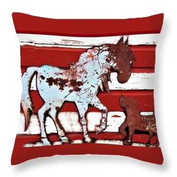 Pony And Pup 3 Throw Pillow