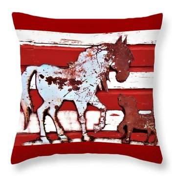Throw Pillow featuring the photograph Pony And Pup by Larry Campbell