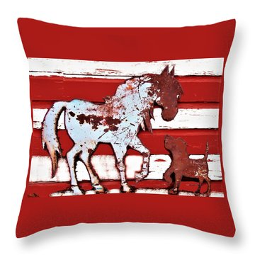 Pony And Pup Throw Pillow