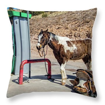 Throw Pillow featuring the photograph Pony At The Pump by Britt Runyon