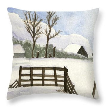 Throw Pillow featuring the painting Pony In The Snow by Annemeet Hasidi- van der Leij