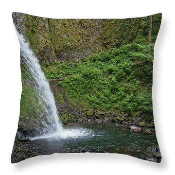 Throw Pillow featuring the photograph Ponytail Falls by Greg Nyquist