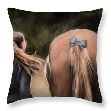 Ponytails Forever Throw Pillow