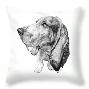 Throw Pillow featuring the drawing Pooch by Mike Ivey