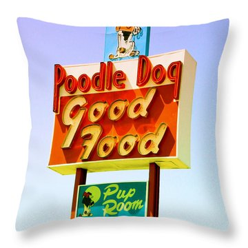 Poodle Dog Diner Throw Pillow by Kathleen Grace