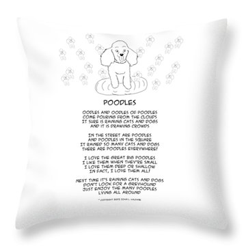 Throw Pillow featuring the drawing Poodles by John Haldane